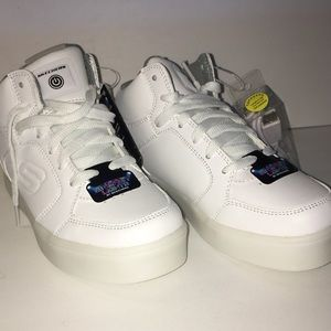 Sketchers light-up white leather high tops